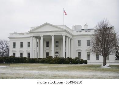 Washington DC in Winter - The Capitol in snow blizzard