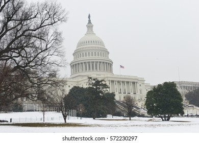 Washington DC in Winter - The United States Capitol in snow
