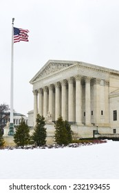 Washington DC in winter - US Supreme Court Building in snow