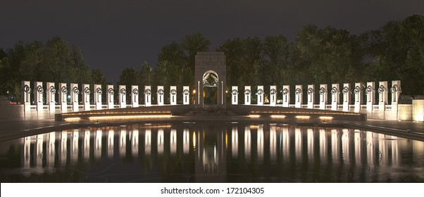 Washington DC - World War II Memorial at night with fountains turned off
