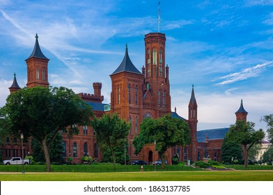Washington DC--Aug 18, 2018; side angle view of red brick castle like headquarters of the Smithsonian Institute on national mall