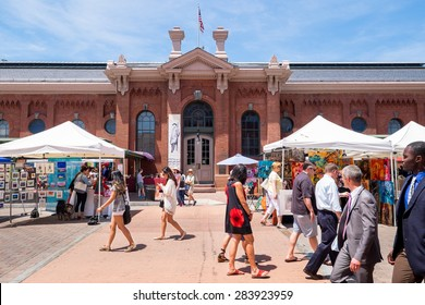 WASHINGTON DC-May 24, 2015: Historic Eastern Market in the Capitol Hill neighborhood, first opened in 1805. The indoor food market and outdoor artisan stalls attract both visitors and residents.