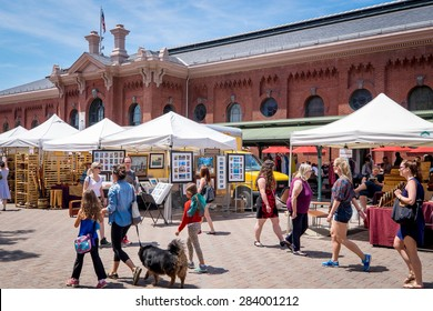 WASHINGTON DC-May 24, 2015: Historic Eastern Market in the Capitol Hill neighborhood, built in 1805. The indoor food market and outdoor artisan stalls attract both visitors and residents.