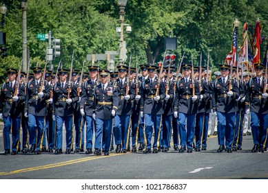 WASHINGTON DC-May 30, 2011: Memorial Day Parade. A marching military platoon.