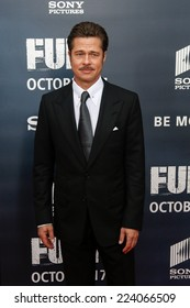 """WASHINGTON, DC-OCT 15: Actor Brad Pitt attends the world premiere of """"Fury"""" at the Newseum on October 15, 2014 in Washington DC."""