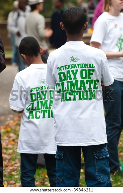 WASHINGTON, DC-OCT 24:Environmental activists, in more than 150 nations and 4300 events, call for action on climate change during the International Day of Climate Action October 24, 2009 in Washington