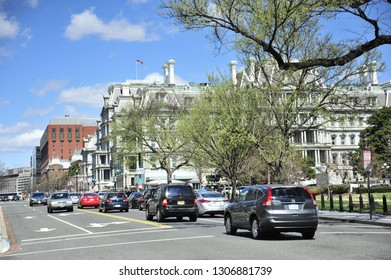Washington D.C./United States- 03/23/2016: A look at the Eisenhower Building through the trees in the Spring.