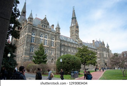 Washington D.C./United States- 03/24/2016: College students walk across the historic campus of Georgetown University.