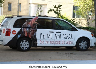 """Washington D.C./United States of America - March 10, 2019: A PETA (P.E.T.A.) van. PETA stands for, """"People for the Ethical Treatment of Animals"""""""