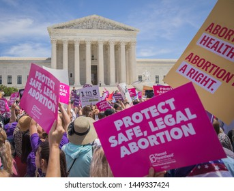 "Washington, DC/United States - May 21, 2019: Pro-life abortion protest on the steps of the Supreme Court after states sought to pass restrictive ""heart beat"" abortion laws."