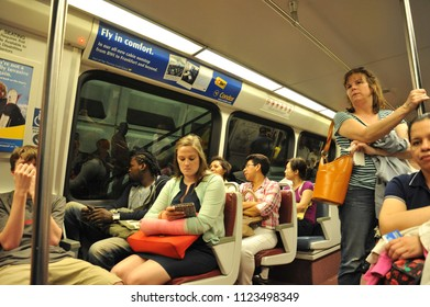 Washington D.C./USA- 04/16/2014: Passengers inside a DC metro train