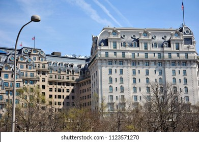 Washington D.C./USA- 04/16/2014: The Willard Hotel near Freedom Plaza on a clear day.
