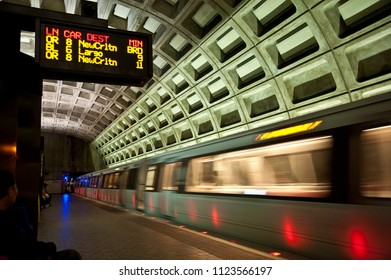 Washington D.C./USA- 04/25/2014: A subway car pulls into a station in Washington DC.