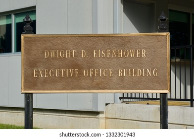 Washington DC/USA - 11 05 2017 : Executive Office Buliding . Next to the  White house.Building of the American government.Sign.