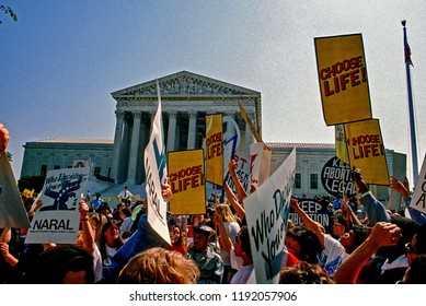 Washington DC.,USA, April 26, 1989. Supporters for and against legal abortion face off during a protest outside the United States Supreme Court Building during Webster V Health Services
