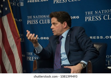 """Washington, DC/USA - April 26, 2018: Anthony Scaramucci, former White House Communications Director, answers reporters' questions at a National Press Club """"newsmaker"""" press conference"""