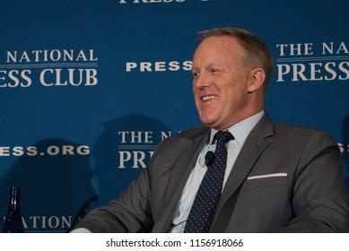 Washington, DC/USA - August 13 2018: Former White House Press Secretary Sean Spicer speaks at the National Press Club