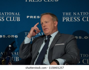 Washington, DC/USA - August 13 2018: Former White House Press Secretary Sean Spicer speaks at the National Press Club