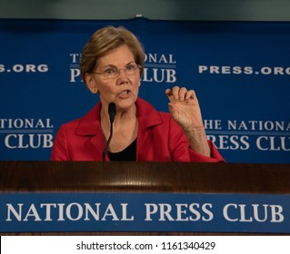 Washington, DC/USA - August 21, 2018 : Senator Elizabeth Warren, Democrat of Massachusetts, potential presidential candidate, speaks to a press conference at the National Press Club