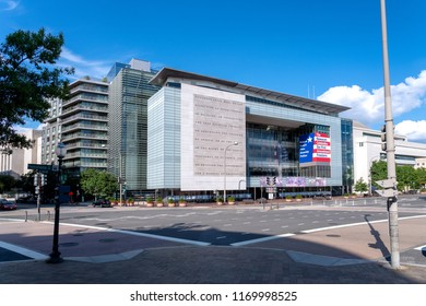 Washington, DC,USA - August  25,2018: Exterior of Newseum in Washington, DC. The Front Pages Gallery is visible presenting daily front pages from over 80 international newspapers.