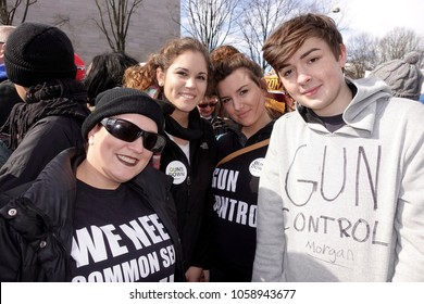 WASHINGTON, DC/USA: A family from Missouri protests against gun violence at The March For Our Lives on Pennsylvania Avenue in Washington, DC on March 24, 2018