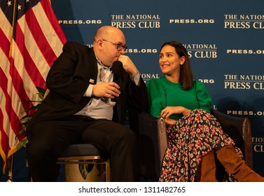 Washington, DC/USA - February 11, 2019: Washington Post Reporter and former prisoner in Iran Jason Rezaian speaks with his wife Yeganeh during a book event at the National Press Club