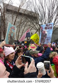 Washington, D.C./USA January 21 2017: Women's March on Washington: Protesters hold signs comparing a Trump presidency and Trump's relationship with Russia and Vladimir Putin to the Nazi regime.