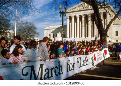 Washington DC.,USA, January 22, 1989.  Hundreds of thousands of people participate in the Annual Right to Life March as it  passes in front of the United States Supreme Court,