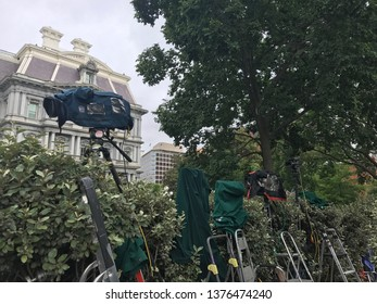 Washington DC,USA - June 16,2017:A television camera for shooting people entering and leaving the aisle between the White House and EOB.
