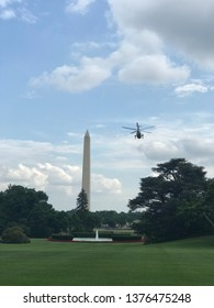 Washington DC,USA - June 16,2017:Presidential helicopter = Marine One flying from the grass square on the south side of the White House.