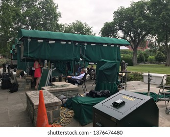 Washington DC,USA - June 16,2017:The staff who rests at the TV broadcast place of the White House.
