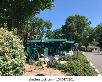 Washington DC,USA - June 21,2017:A place for TV broadcast in the White House seen from the office side. It has a tent for rain protection and is called pebble beach. There is currently no tree with sp