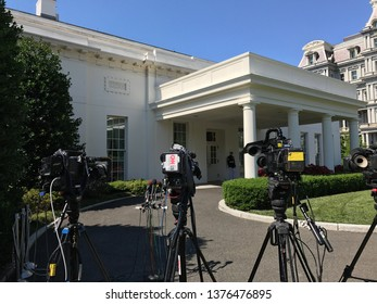 Washington DC,USA - June 21,2017:A TV camera prepared to interview a person who came out of the White House office.