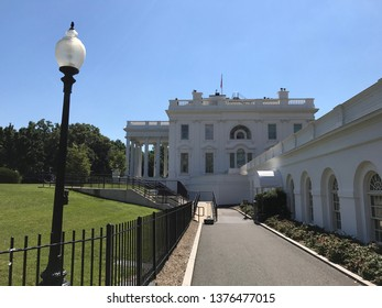 Washington DC,USA - June 21,2017:White House settlement seen from the west side of a sunny day.