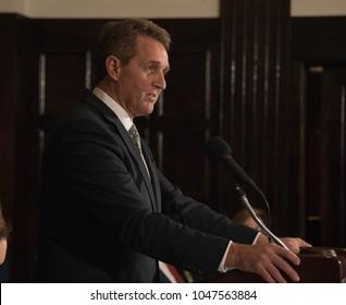 Washington, DC/USA - March 15, 2018: Senator Jeff Flake of Arizona criticizes Trump Administration in speech to National Press Club