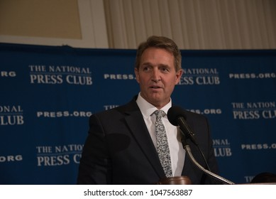 Washington, DC/USA - March 15, 2018: Senator Jeff Flake of Arizona criticizes Trump Administration in speech to National Press Club