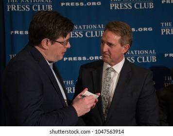 Washington, DC/USA - March 15, 2018: Kieran Martin, Reuters Washington bureau chief interviews Senator Jeff Flake of Arizona after Flake's speech to National Press Club