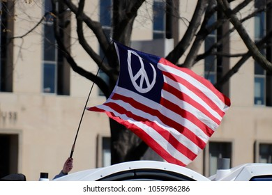 WASHINGTON, DC/USA- MARCH 24, 2018: Hundreds of thousands of students and adults March For Our Lives demanding gun reform and a safer country in Washington, DC on March 24, 2018.