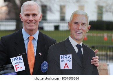 "WASHINGTON, DC/USA- MARCH 24, 2018: Vice President impersonator, Mike ""Hot"" Pence (left), attends the March For Our Lives demonstration in Washington, DC on march 24, 2018."