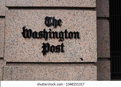 Washington, DC/USA – March 24, 2019: The Washington Post headquarters building on K Street NW.