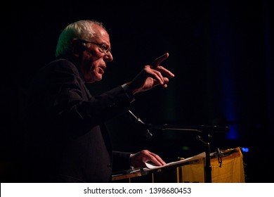 Washington, DC/USA- May 13, 2019: Senator Bernie Sanders and Representative Alexandria Ocasio Cortez speak about the importance of a Green New Deal at a town hall organized by the Sunrise Movement.