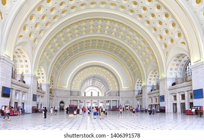 WASHINGTON D.C.,USA - MAY 19, 2019: The interior of Union Station, the historic train and bus station in Washington D.C. Opened in 1907, it is Amtrak's headquarters.