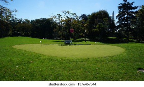Washington DC,USA - Nov 19,2014:A dedicated putting place for President Obama in front of Rose Garden.A putting practice green for President Obama's breakout. There is also a bench in the back.