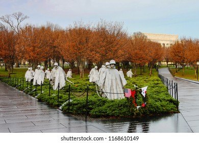 WASHINGTON, DC/USA - NOVEMBER 11, 2011:  The Korean War Veterans Memorial in West Potomac Park on the National Mall in the District of Columbia honors those who served in this war.