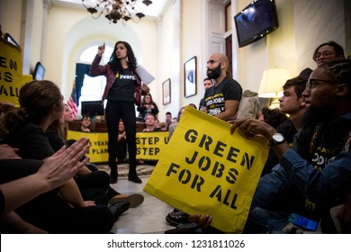 Washington DC/USA- November 13, 2018:Student activists with the Sunrise Movement occupy Nancy Pelosi's office to demand that she and the Democrats act on climate change