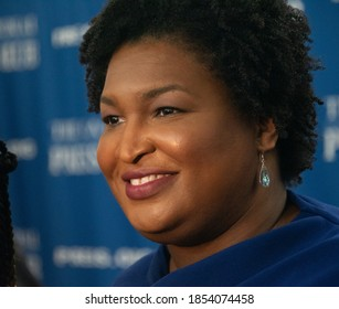 Washington, DC/USA - November 15, 2019. Stacey Abrams speaks at a National Press Club luncheon.