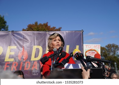 Washington, DC/USA – October 18, 2019: Fire Drill Friday environmental protest at the Capitol with actors and activists, Jane Fonda and Sam Waterston addressing their concerns about global warming.