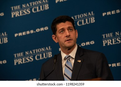 Washington, DC/USA - October 8, 2018: Paul Ryan, Speaker of the U.S. House of Representatives, addresses a press conference at the National Press Club