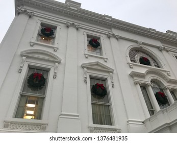 Washington DC,USA - Sep 21,2017:Evening White House Presidential Settlement.The window is decorated with a Christmas wreath.
