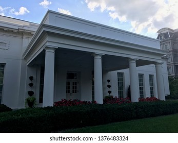 Washington DC,USA - Sep 21,2017:South Wing with an evening presidential office.